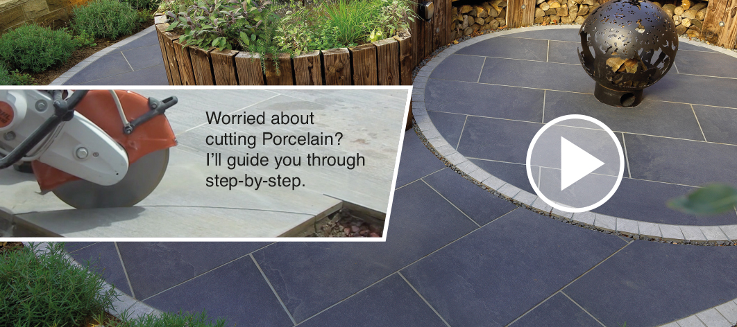 How to cut porcelain patio tiles by Mark Brown, Pavestone's expert landscape gardener